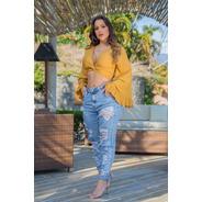 Calça Sol Jeans Hot Pants Mom Estilo Boyfriend Com Lycra Azu