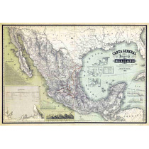 Lienzo Tela Carta General Del Imperio Mexicano 1864 Mapa