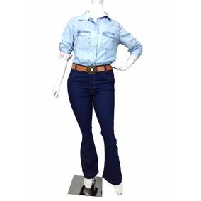 Calça Jeans Flare Plus Size Feminina Tamanho Grande C/ Cinto