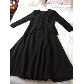 Hermoso Vestido Largo Para Fiesta Negro Talla 17 / 38