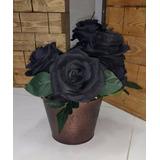 Galho 10 Rosas Negras Artificiais Buquê Arranjos Enfeites