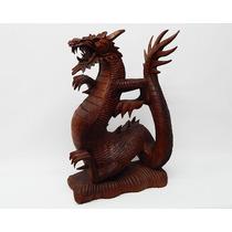 Dragón Madera De Teka 50cm - Indonesia - Oriental - Hindú