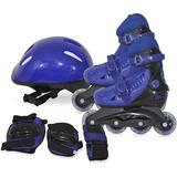 Kit Patins Roller Inline Completo + Proteção Rosa Azul Cinza