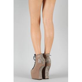 Botas Heelless Cross - Zapatos Sin Taco Con Tachas Nude
