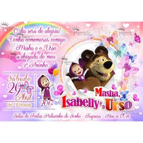 Arte Convite Digital Masha E O Urso Imprimir Em Casa