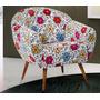Poltrona Cadeira Sofia Decorativa Recepção Chenille Floral