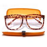 Óculos Retrô Quadrado Grande Leopardo Big Square