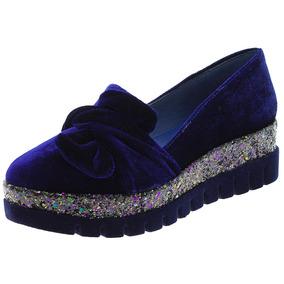 Sapato Feminino Salto Baixo Marinho Di Cristalli - 2758050