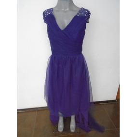 Vestido Corto-largo Talla 34 Morado