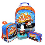 Kit Mochila Infantil Escolar Hot Wheels Rodinhas Tam G F5