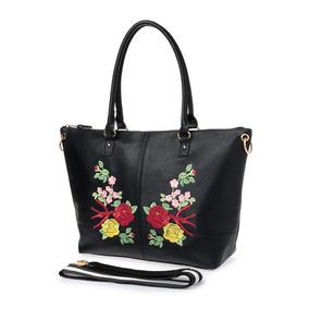 Bolso Shopping Abril Negro C/bordado Flores