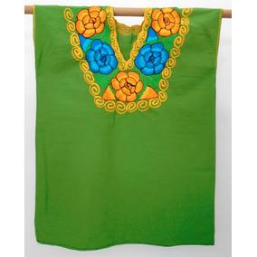Blusa Típica Mexicana Bordada A Máquina. Hermosas Flores.