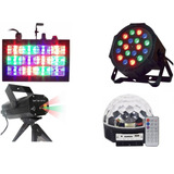 Kit Balada Iluminação Discoteca Strobo Par 18 Leds Rgb Laser