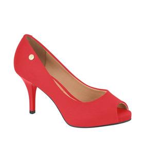 Peep Toe Feminino Salto Alto Vizzano Vermelho- Frete Gratis
