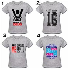 Kit C/5 Camiseta Feminina Envagélica Atacado Biblica Frases