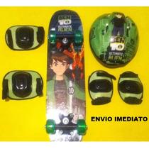 Skate Infantil Ben 10 + Joelheira + Cotoveleira + Sacola