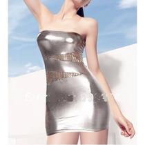 Sexy Vestido Strapless Plateado + Colaless, Hot Erotico