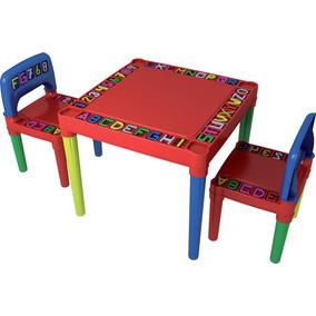 Jogo De Mesa Com 02 Cadeiras Plastica Infantil Desmontável