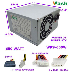 Fuente Poder Atx Wps-650w Wash Pc Sata Molex 20+4 Pines Ccc