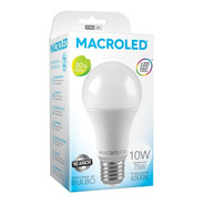 Pack X10 Macroled Lampara Led Bulbo A60 10w Bco Frío E27