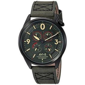 Avi-8 Reloj De Aviador De Acero Y Cuero De Cuarzo