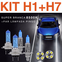 Kit Super Branca H1 + H7 Tech One Tipo Xenon 8500k+pingo Led