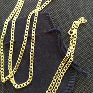 Pulseira E Cordão Banhado A Ouro 60 Cm Qmaximo Dourado