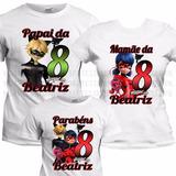 3 Camiseta Miraculous Camisa Ladybug Aniversário Ladybag