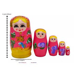 Matrioska Russa Vermelha- 5 Bonecas Uma Dentro Da Outra