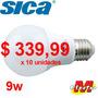 Lampara Led Bulbo E27 9w Calida X 10unid Sica Electro Medina