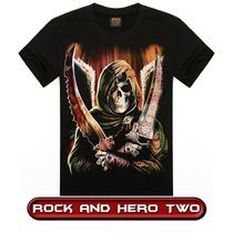 Camiseta Camisa 3d Caveira Bandas Rock Motoqueiro Moto Hero