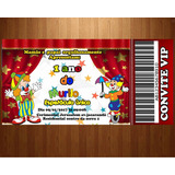 30 Convites Circo Patati Patatá Ingresso Vip