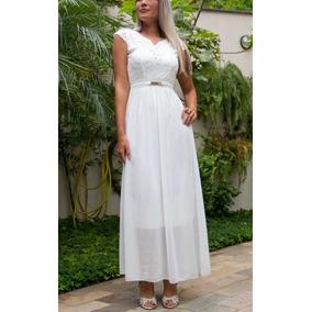 Vestido Noiva Longo Renda Casamento Civil Evangélico Pérolas