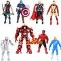 8 Muñecos Super Heroes Avengers Vengadores Hulk Rojo O Verde