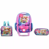 Kit Mochila Escolar Polly 16z Summer Time Rodinhas Sestini G