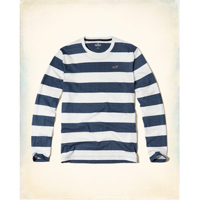 Hollister Camiseta Cuello Reondo Rayas Azul Originales