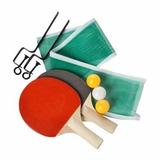 Set De 2 Raquetas+3 Pelotas+malla Tenis De Mesa Ping Pong