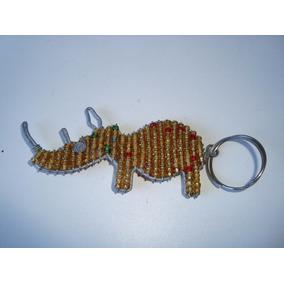 Chaveiro Rinoceronte Metal Prateado Miçangas Africano África