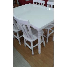 Mesa De Madeira Com 4 Cadeiras Branca