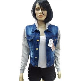Jaqueta Jeans Com Moleton Na Manga C/ Toca Feminino Barato