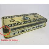 Antiga Caixa Lata De Metal Betises Cambrai França Ano 1920