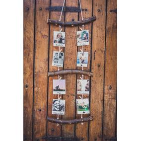 Portaretratos Rustico Con 8 Fotos Polaroids