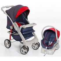 Conjunto Carrinho Bebê Conforto Base Galzerano Optimus Jeans