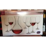 Set Decanter/decantador Para Vino + 6 Copas Cristal Bohemia