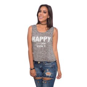 Franela Gris Gastada Happy Saints Clothes