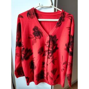 Blusa De Frio Feminina Cardigan Vermelha Tam M Roupa