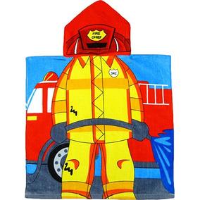 Fireman 100% Algodón Con Capucha Estilo Poncho De Baño Y De