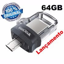 Pendrive 64gb Sandisk Celular E Pc Ultra Dual Drive Usb 3.0