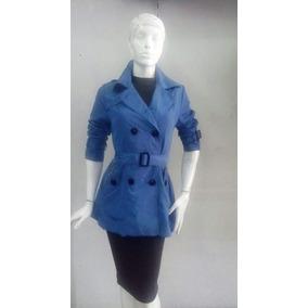 Gabardina De Dama En Color Azul Modelo Boton