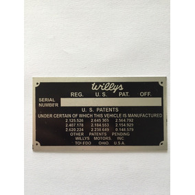 Plaqueta Placa Número Chassi Jeep Rural Pick Up Willys
